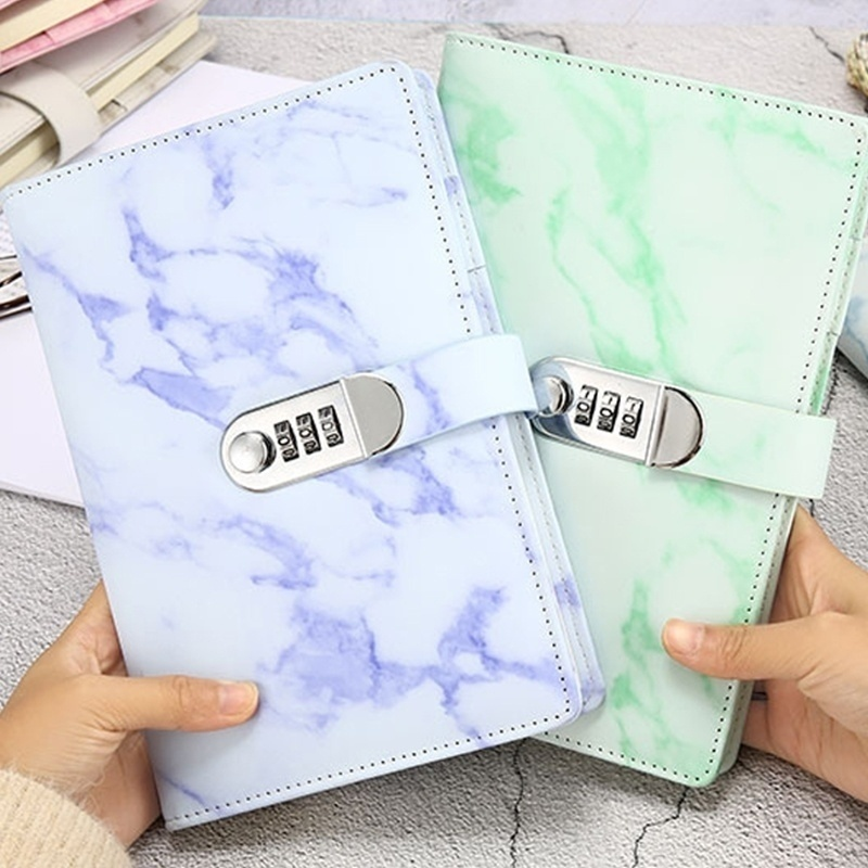 Senha notebook textura de mármore 100 folhas diário pessoal com código de bloqueio grosso bloco de notas couro material escolar escritório presente