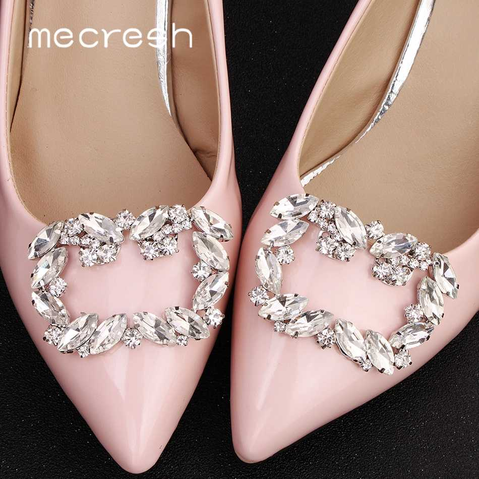 Mecresh 2pcs/lot Luxury Horse Eyes Crystal High Heels Clips for Women Geometric Bridal Wedding Shoes Buckle Accessories MXK003