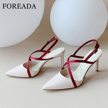 FOREADA High Heels Women Slingbacks Shoes Natural Genuine Leather Thin High Heel Shoes Cross-tied Buckle Strap Pointed Toe Pumps stylesowner 2018 new arrival soft genuine leather women pumps sexy buckle strap pointed toe super high thin heels party shoes