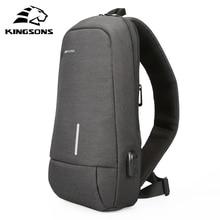 Kingsons męskie torby na ramię torby Crossbody mężczyźni z zabezpieczeniem przeciw kradzieży torba na klatkę piersiowa szkoła lato krótka wycieczka posłańcy torba 2019 New Arrival