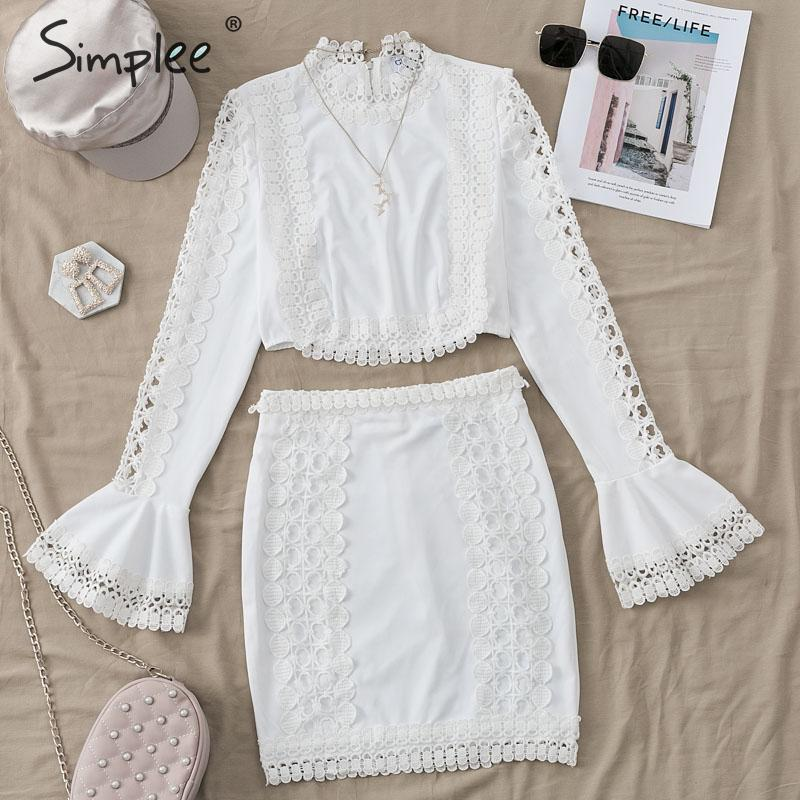 Image 5 - Simplee Elegant women lace bodycon dress White 2 pieces hollow out autumn dress suit Winter sexy party club short party dressesDresses   -