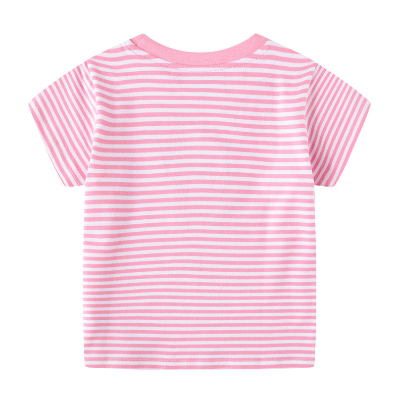 Jumping meters Girls Pink Cotton T shirts for Summer Stripe Children Clothes Animals Print New 2020 Kids Tops Tees 2