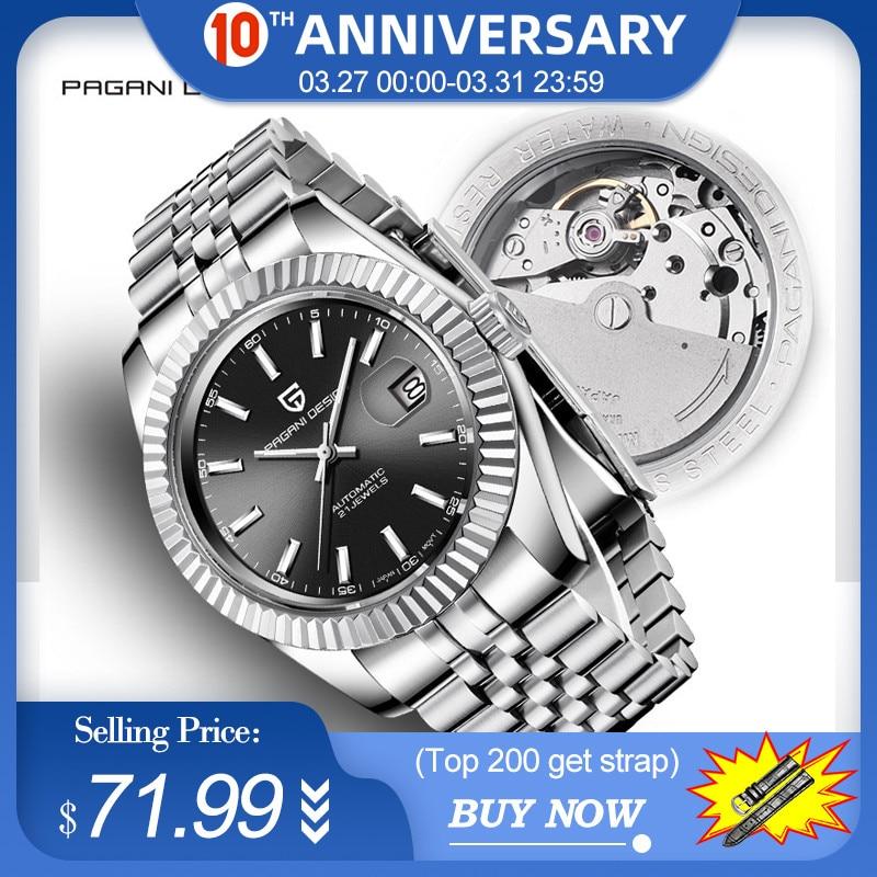 Men's Watches 2019 New Top Luxury Brand PAGANI Design Fashion Automatic Mechanical Steel Watch Men Military Sport Wristwatch+box|Mechanical Watches| |  - title=