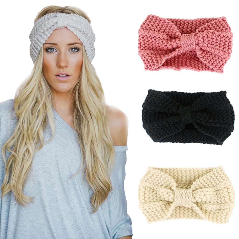 5pcs Baby Headwraps Girls Knitted Bow Hairbands Winter Warmer Crochet Headband