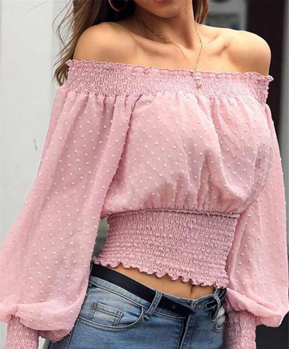 2020 Baru Wanita Blus Off Bahu Lengan Panjang Fashion Elegan Kemeja Kasual Longgar Blus Atasan Femenina Kemeja Putih)