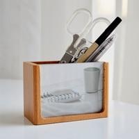 Obsadka do pióra z litego drewna kreatywna dekoracja stołu mody proste akcesoria schowek biurowy prezent z okazji ukończenia szkoły drewniane ramka na zdjęcia Fram na