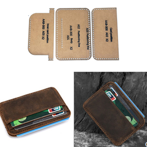 1 Set DIY Leather Handmade Card Holder Double Coin Card Storage Bag Sewing Pattern Hard Kraft Paper Stencil Template