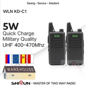 Image 1 - 2pcs WLN KD C1 Mini Walkie Talkie 5W UHF Handheld Two Way Radios RT22 WLN Radio 5W Mini Portable 2 way radio UHF 400 470 USB