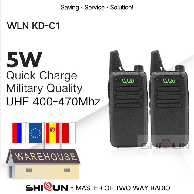 2pcs WLN KD C1 Mini Walkie Talkie 5W UHF Handheld Two Way Radios RT22 WLN Radio 5W Mini Portable 2 way radio UHF 400 470 USB