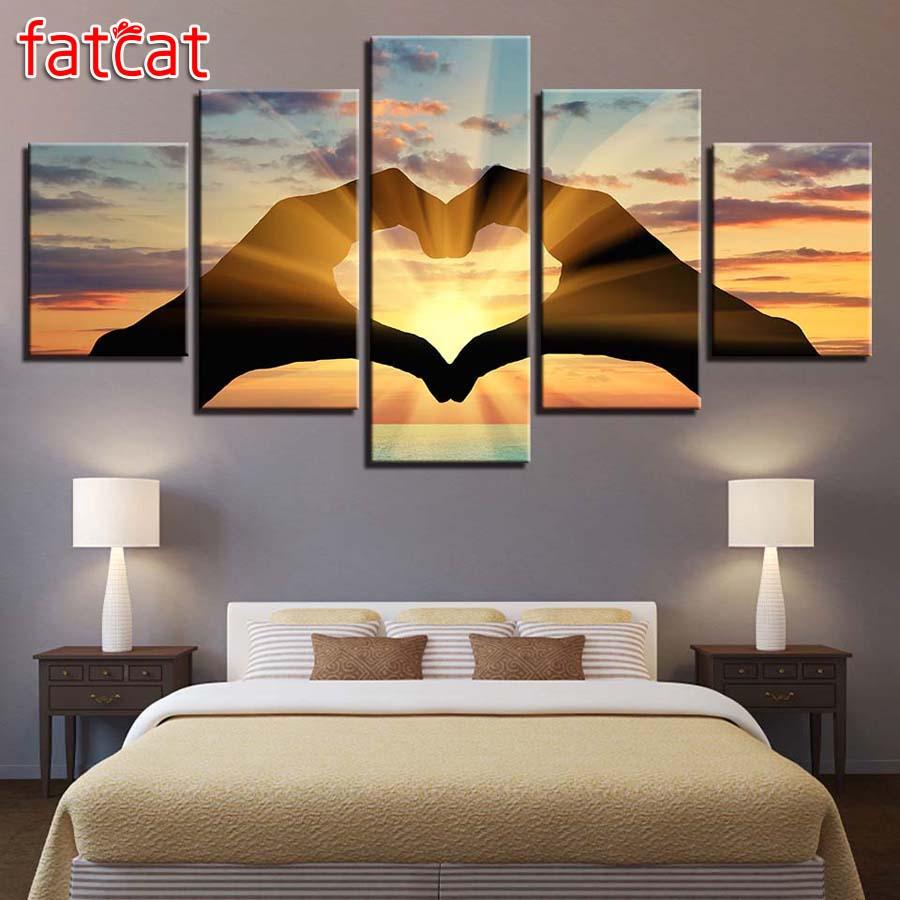 5 Pieces Heart Shape Sunset Sunshine Paintings