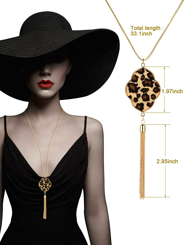 New Long Necklaces for Women Leopard Print Tassel Necklaces Gold Chain Pendant Necklace