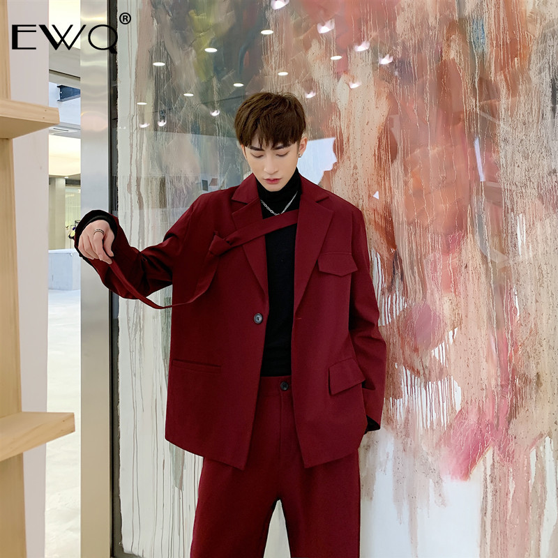 EWQ / Niche Men's Clothing Red Irregular Tie Big Size Blazers Loose Jacket + Casual Suit Pants 2020 Spring New Set 9Y52703