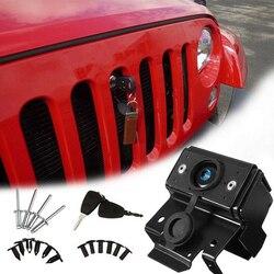 Z zabezpieczeniem przeciw kradzieży wymiana przedniego silnika z kluczem łatwa instalacja wytrzymały pojazd zatrzask metalowy samochód części naprawiono zatrzask dla Wrangler Jk