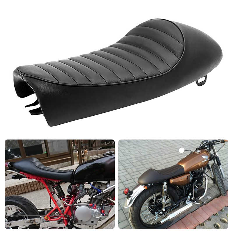 1 Set Black Motorcycle Cafe Racer Seat Custom Vintage Saddle Flat