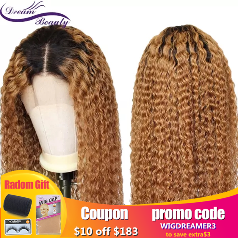 Dream Beauty 13X6 Lace Front Wig  Jerry Curly With Baby Hair Ombre Brazilian Wigs Pre-plucked Hairline Remy Human Hair For Women