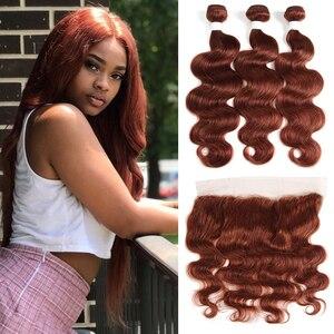 Image 2 - ברזילאי שיער טבעי חבילות עם פרונטאלית 13*4 ערמוני חום גוף גל שאינו רמי 100% שיער טבעי וויבס צרור עם סגירה
