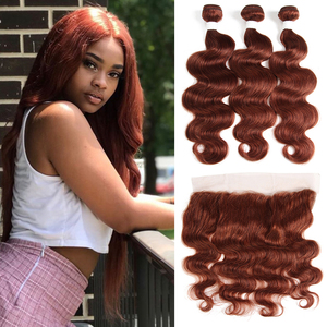 Image 1 - Коричневые Бразильские человеческие волосы 33 #, пряди с фронтальной 13*4, волосы KEMY, 100% человеческие волосы без повреждений, пряди, 3/4 шт.