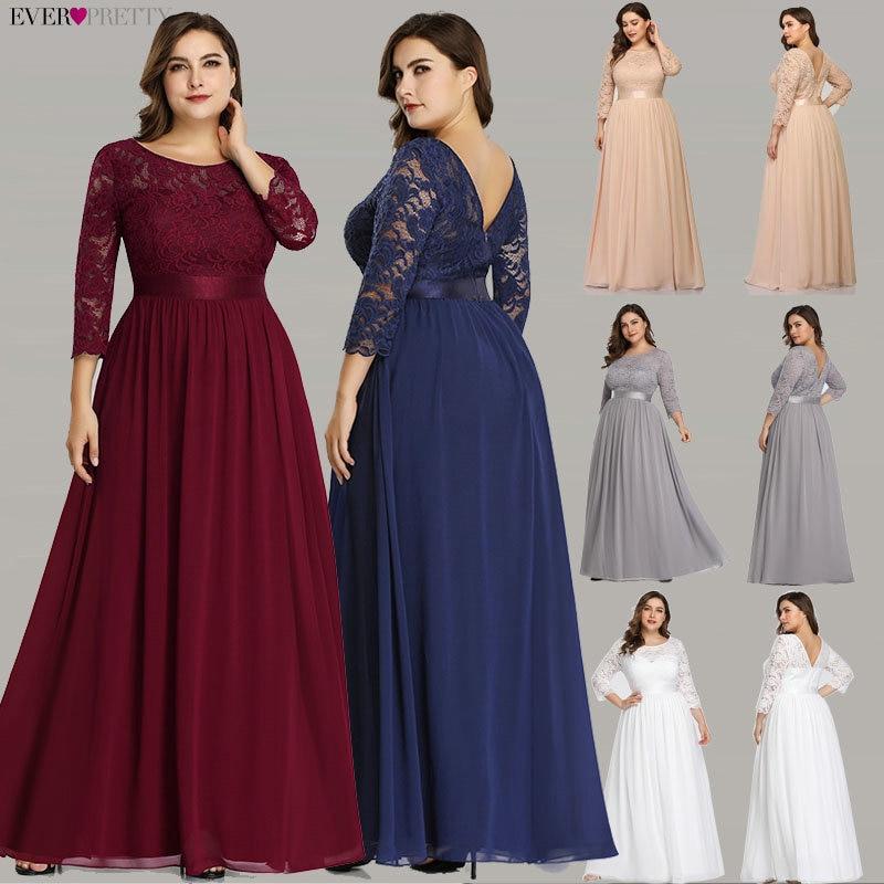 Robe de fête de mariage grande taille jamais jolie élégante une ligne O cou trois quarts manches longues dentelle mère de la mariée robes 2019