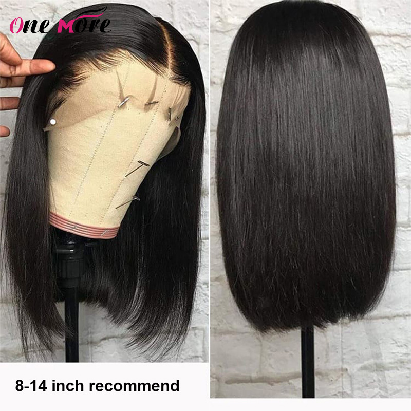 One More 13x4 Lace Front Wig Short Bob Wigs Peruvian Remy Hair Wigs Lace Front Human Hair Wigs Pre-Plucked Human Hair Wigs
