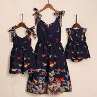 butterflies dresses mother daughter mommy and me clothes family look mom mum mama and baby women & girls matching dress outfits