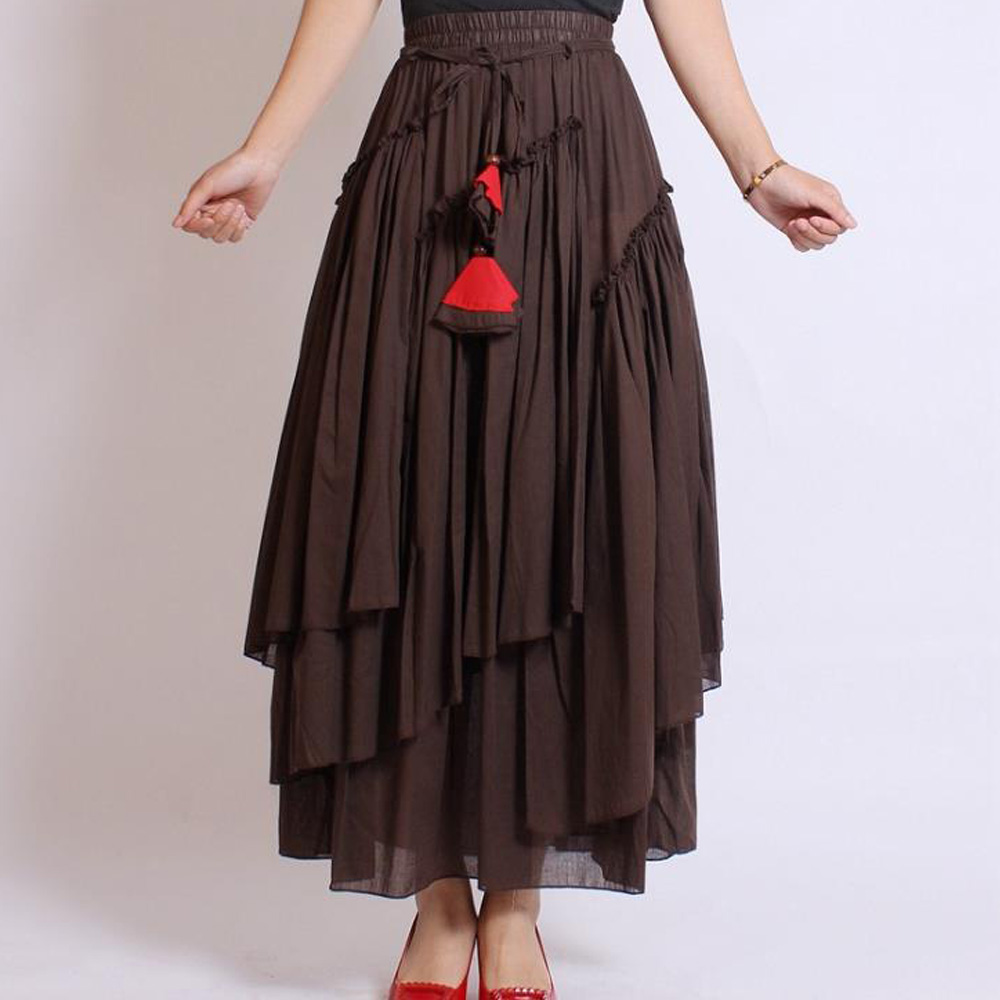Gothic Steampunk Skirt Women Vintage Cotton Linen Skirt Plus Size Pirate Costume Club Long Renaissance Victorian Ruffles Skirts