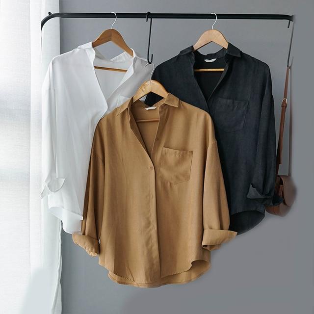 Lizkova White Blouse Women Suede Long Sleeve Formal Shirt 2020 Spring Lapel Ladies Blouse Streetwear 8866
