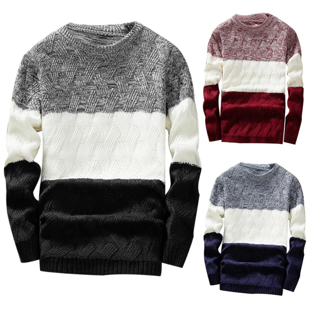 Men Autumn O Neck Long Sleeve Color Block Patchwork Sliming  Knitted Pullover Sweater