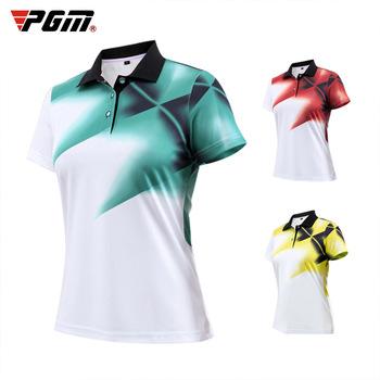 Pgm odzież golfowa damska koszulka z krótkim rękawem lato oddychająca koszulka sportowa Golf Slim odzież treningowa Lady Top koszulka rozmiar S-XL tanie i dobre opinie WOMEN COTTON spandex Anty-pilling Szybkie suche CC0112 Pasuje prawda na wymiar weź swój normalny rozmiar Suknem