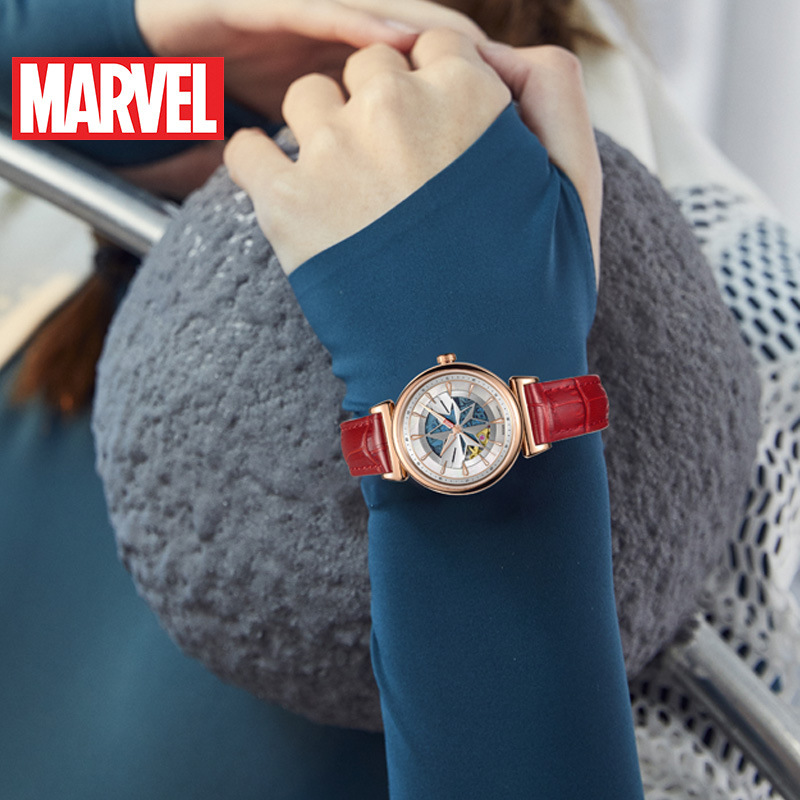 Disney Marvel Ms. Mechanical Watch Surprise Captain Belt Trend Watch gifts for women Automatic Self-Wind Water Resistant 5Bar