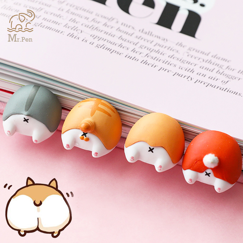 Cute Cartoon Dog Cat Hamster Fox Ass Shape Bookmarks Novelty Book Reading Item Creative Gift For Kids Children Lovely Stationery