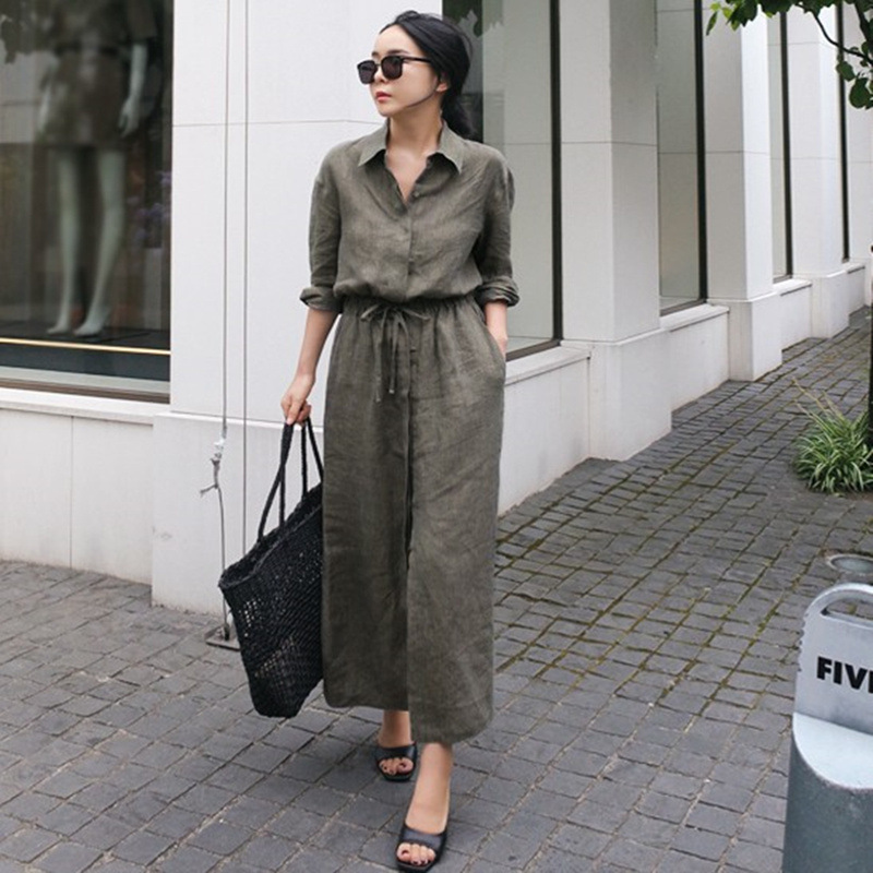 LANMREM Solid Color Lapel Long Sleeve Drawstring Cotton And Linen Loose Woman Dress Casual Fashion 2020 Spring Dresses New TV144 1