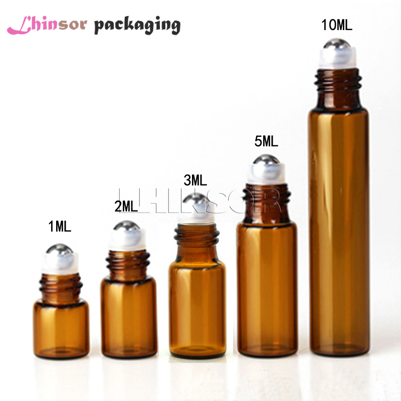 50PC/Pack 1ml 2ml 3ml 5ml 10ml Amber Glass Roll On Bottles  Doterra Containers Sample Test Essential Oil Vials With Roller  Ball
