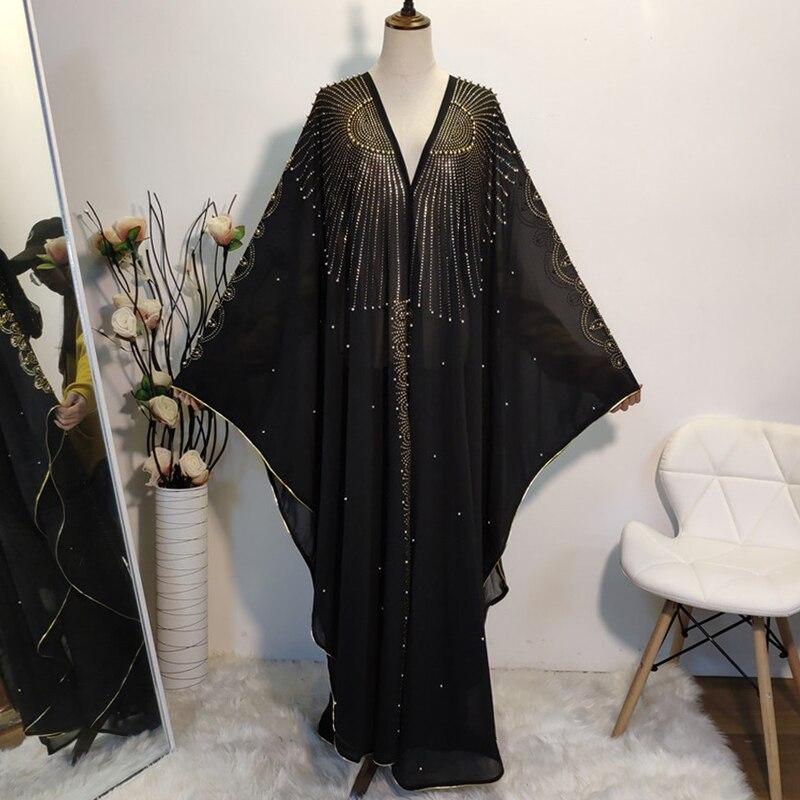 Siskakia Ramadan Luxury Bat Sleeve Rhinestone Abaya Dress Caftan Fashion Muslim Africa Dubai Turkish Marocain Islamic Clothing