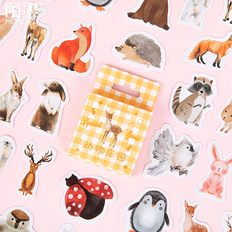 46pcs/pack Kawaii Cute Animal Manor Small Creative Cute Decoration Boxed Diary Stickers School Supplies