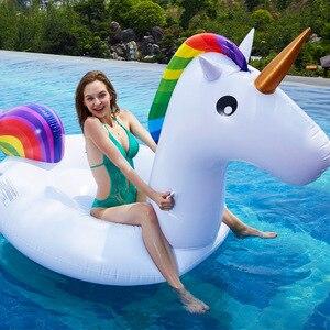 Image 1 - Rooxin dev Unicorn yüzen havuz yüzme simidi hava yatağı şişme yüzme daire havuzu şamandıra satır tüp su parti oyuncakları