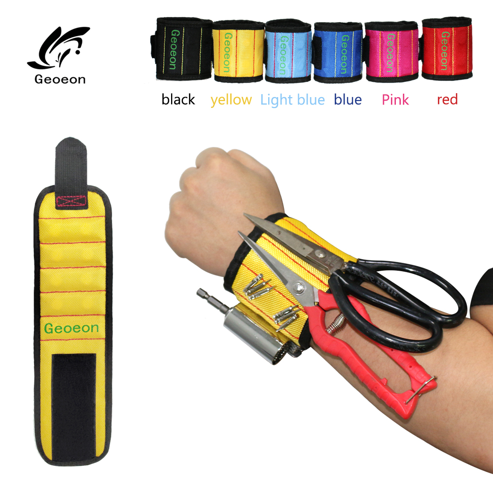 Geoeon Polyester Magnetic Wristband 10pcs Strong Magnets Portable Bag Electrician Tool Bag Screws Drill Holder Repair Tool BeltTool Bags   -
