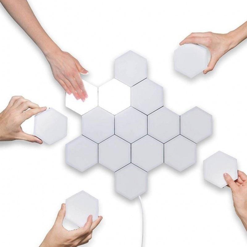 6PCS DIY Quantum Licht LED Modulaire Touch Sensor Licht Zeshoekige Magnetische Creatieve Decoratieve Wandlamp Multicolor Nachtlampje - 4