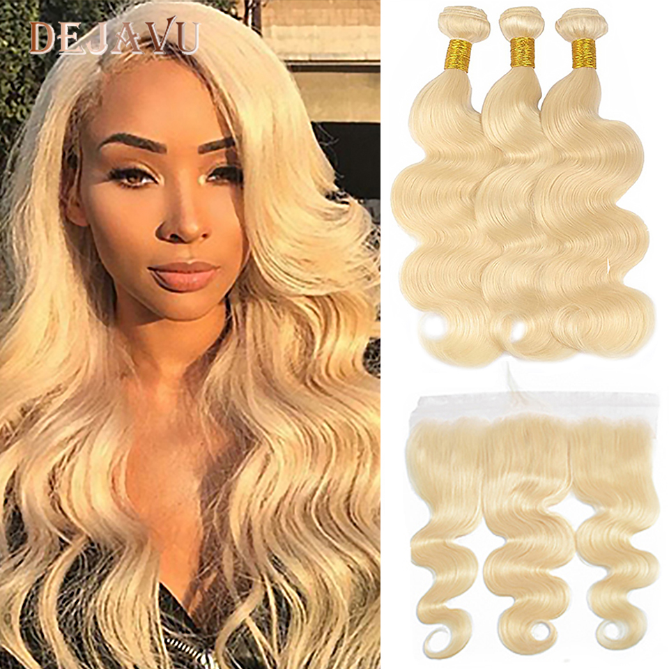 613 Body Wave Bundles With Frontal Peruvian Ombre Human Remy Hair Closure With Bundles Blonde Bundles With Ear To Ear Frontal