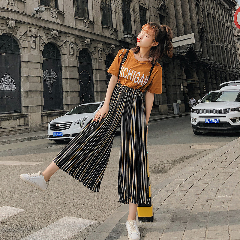 [Dowisi] 2018 Summer New Style WOMEN'S Printing T-shirt + High-waisted Camisole Loose Pants WOMEN'S Suit F6410