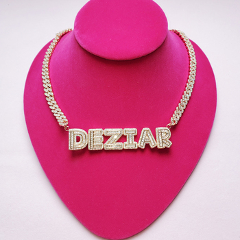 Custom Name Necklace Small Baguette Letter Customized Pendant With 9mm Cuban Chain Full Iced Out Zircon Gift