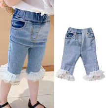 New Fashion Baby Girls Jeans Lace Decoration Ankle Mid-length Skinny Jeans for Girls High Elastic Kids Denim Pants for 2-7T eaboutique 2018 new street fashion rock star kids summer big holes jeans for girls jeans 2 6 years old