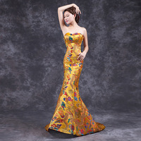 Fashion Prom Party Gowns Cheongsam Oriental Evening Dress Chinese Style Women Elegant Qipao Long Robe Retro Vestido