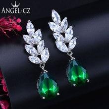 Женские классические серьги angelcz с зеленым кубическим цирконием
