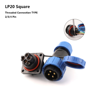 LP20 SP20 IP68 Square Screw crimp Waterproof Connector No welding Wire cable connector 2 3 4 Pin Male and Female plug & socket