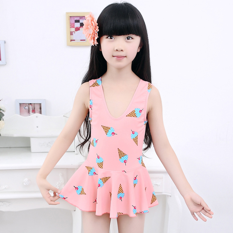 KID'S Swimwear Dress Triangle Cute Printed South Korea Middle And Large Girls GIRL'S Students Tour Bathing Suit With Chest Pad