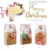 50 Pieces Christmas Candy Bags Zip-lock Gift Packing Bags Christmas Translucent Cookie Bags for Party Gift Supplies