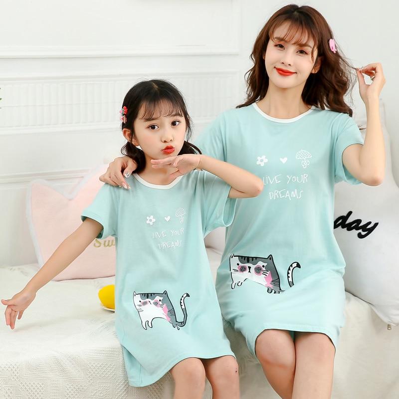 New Summer Cotton Women Night Dress Princess Nightgowns Girls Unicorn Sleepwear Nightwear Cartoon Short Sleeves Nighty Gecelik 5