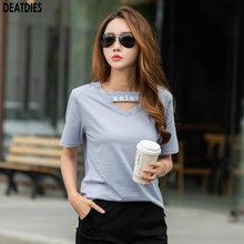 Letra Casual camiseta mujer camiseta algodón Vintage de talla grande mujer camiseta mujeres Tops cuello pico manga corta Camisetas Mujer 2020