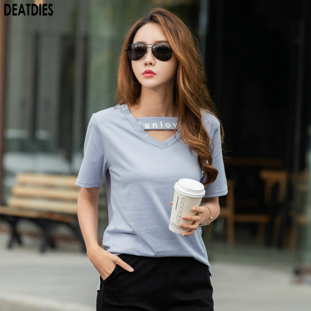 Letter Casual  T shirt Women Tshirt Cotton Vintage Plus Size Female T Shirt Women Tops V Neck Short Sleeve TShirts Femme 2020
