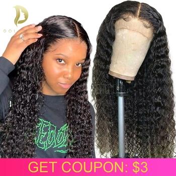 Koronki przodu włosów ludzkich peruk dla czarnych kobiet brazylijski krótkie kręcone ludzkie włosy peruka wstępnie oskubane hd koronki przodu peruka głęboka fala 13 #215 4 tanie i dobre opinie FYNHA Lace Front wigs 360 Koronki Przednie Peruki Remy włosy Ludzki włos Pół maszyny wykonane i pół ręcznie wiązanej